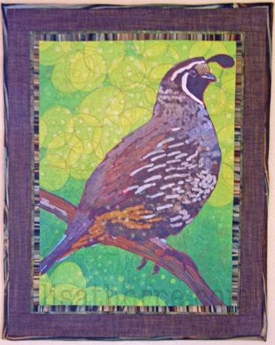 Quilted Quail, on of the twelve iPad drawings printed on fabric then embellished with stitch.