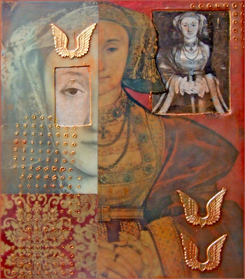 Encaustic Collage using images from old art book.