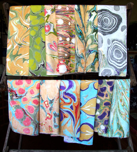 My cache of freshly marbled fabric!
